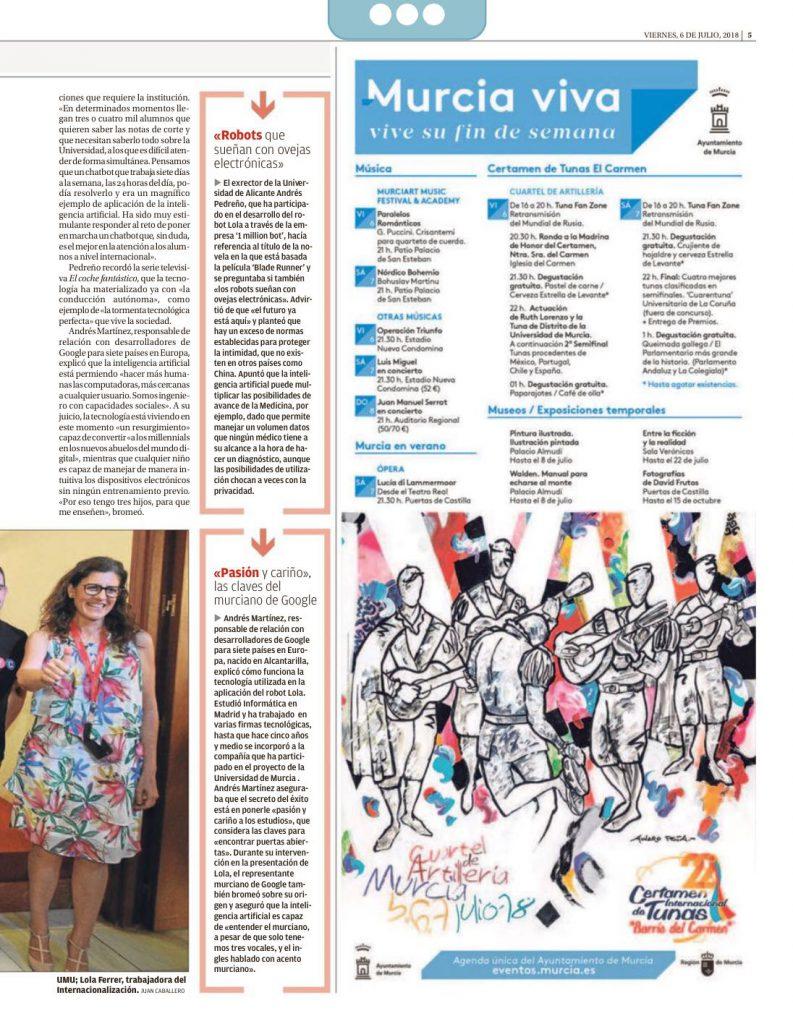 chatbot Lola Universidad Murcia periódicos