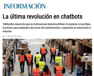 Noticia Chatbot de Blinker en Diario Información