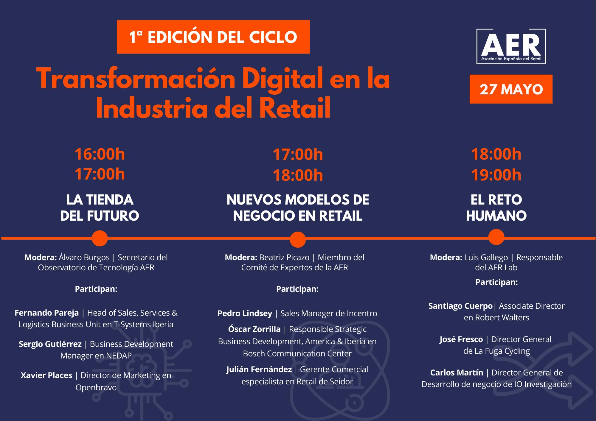 La Asociación Española del Retail (AER) celebra el primer ciclo de Transformación Digital el 27 de mayo