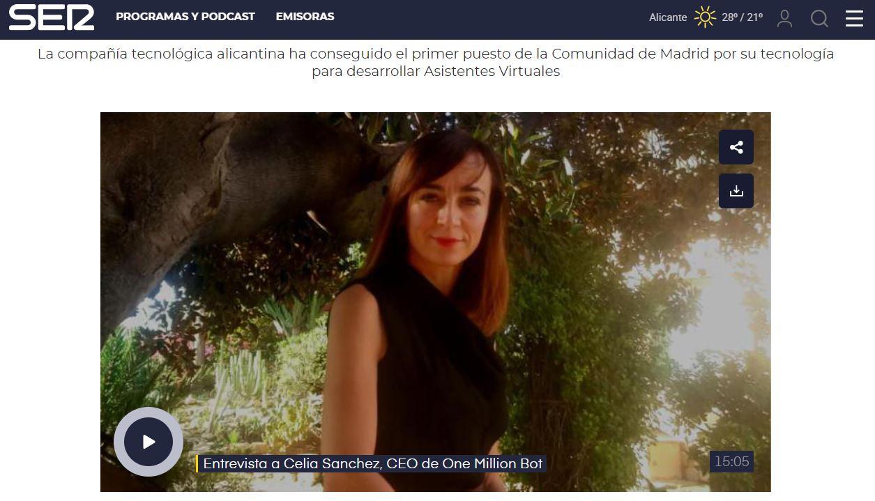 """Celia Sánchez: """"Ser los primeros por la Comunidad de Madrid demuestra que empresas pequeñas como 1millionbot pueden liderar sectores estratégicos"""""""