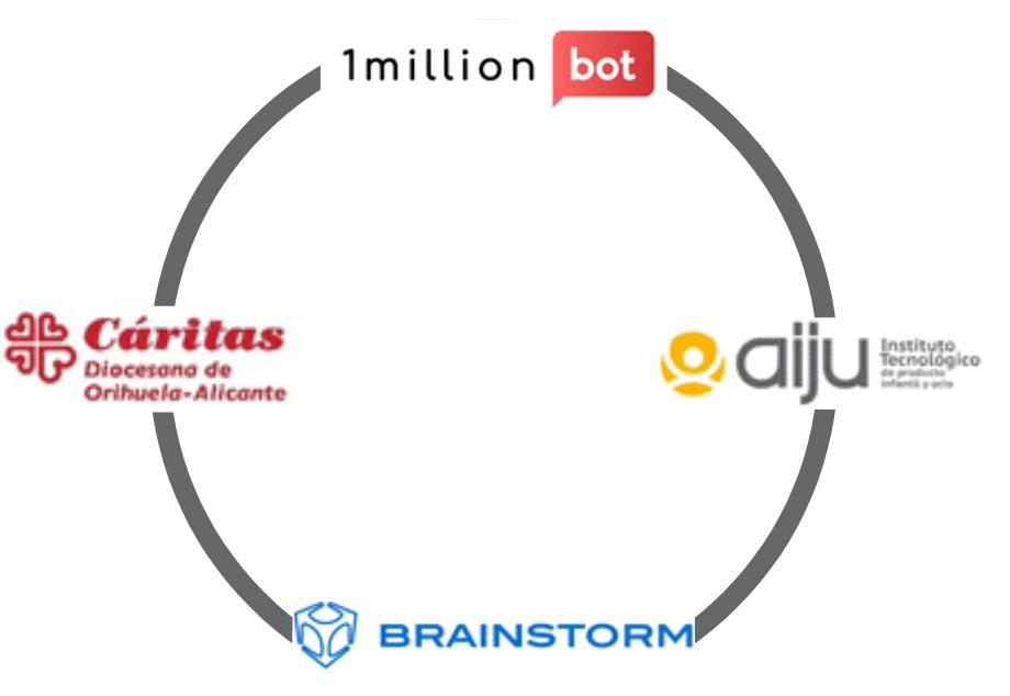1millionbot se compromete con AIJU, Cáritas y Brainstorm Multimedia para ayudar a las personas mayores