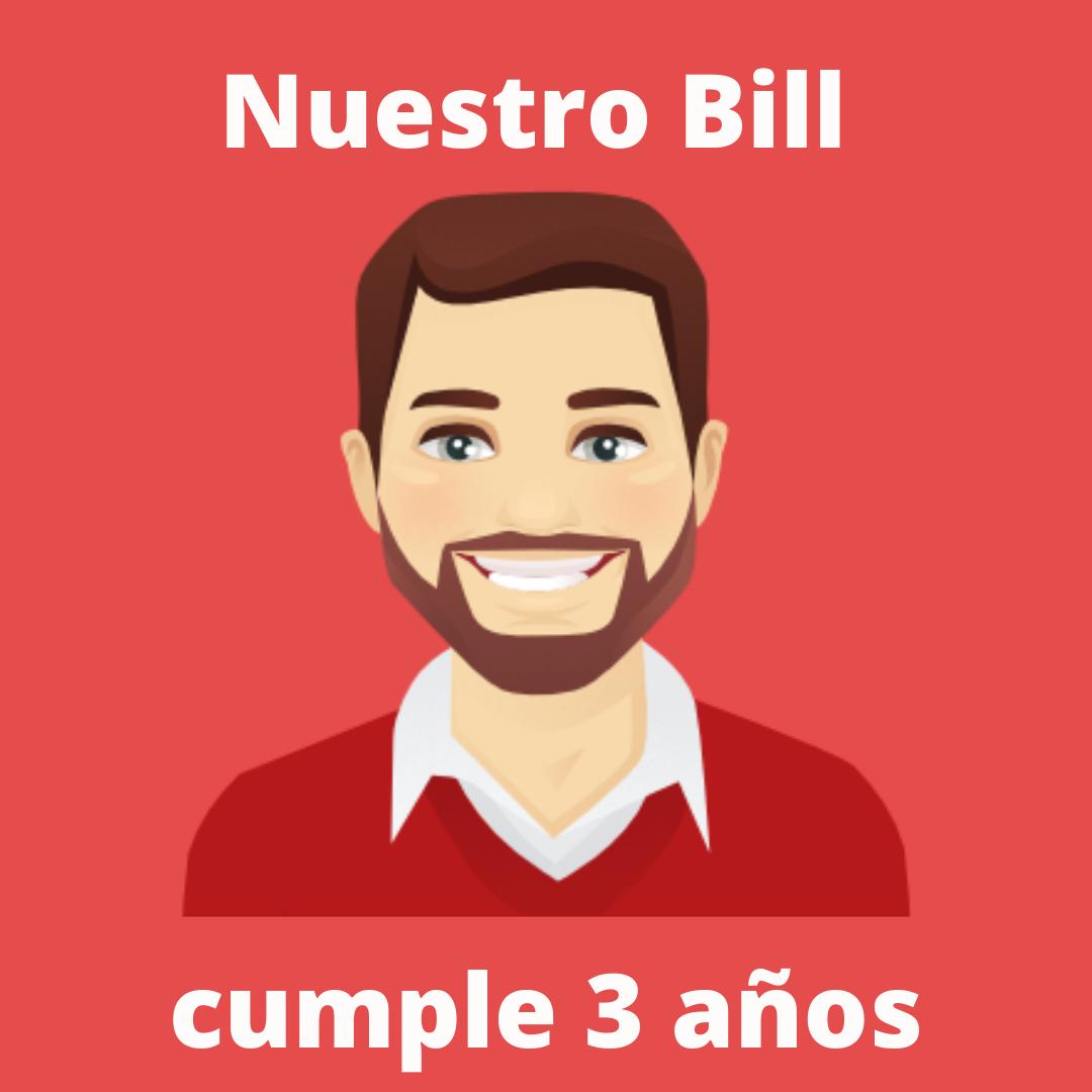 ¡Nuestro Bill está de celebración! El chatbot inteligente de 1millionbot cumple tres años siendo el embajador virtual de la organización a través de la web